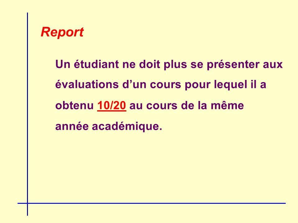 Report Un étudiant ne doit plus se présenter aux évaluations dun cours pour lequel il a obtenu 10/20 au cours de la même année académique.