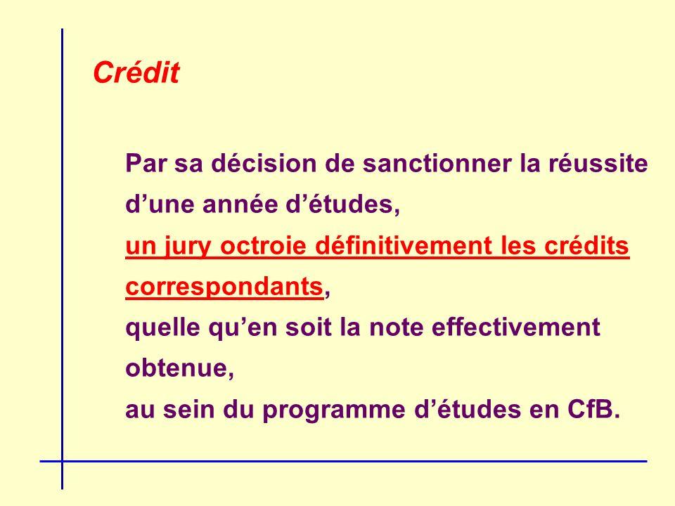 Crédit Par sa décision de sanctionner la réussite dune année détudes, un jury octroie définitivement les crédits correspondants, quelle quen soit la note effectivement obtenue, au sein du programme détudes en CfB.