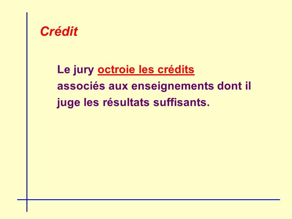 Crédit Le jury octroie les crédits associés aux enseignements dont il juge les résultats suffisants.
