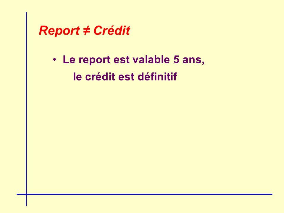 Report Crédit Le report est valable 5 ans, le crédit est définitif