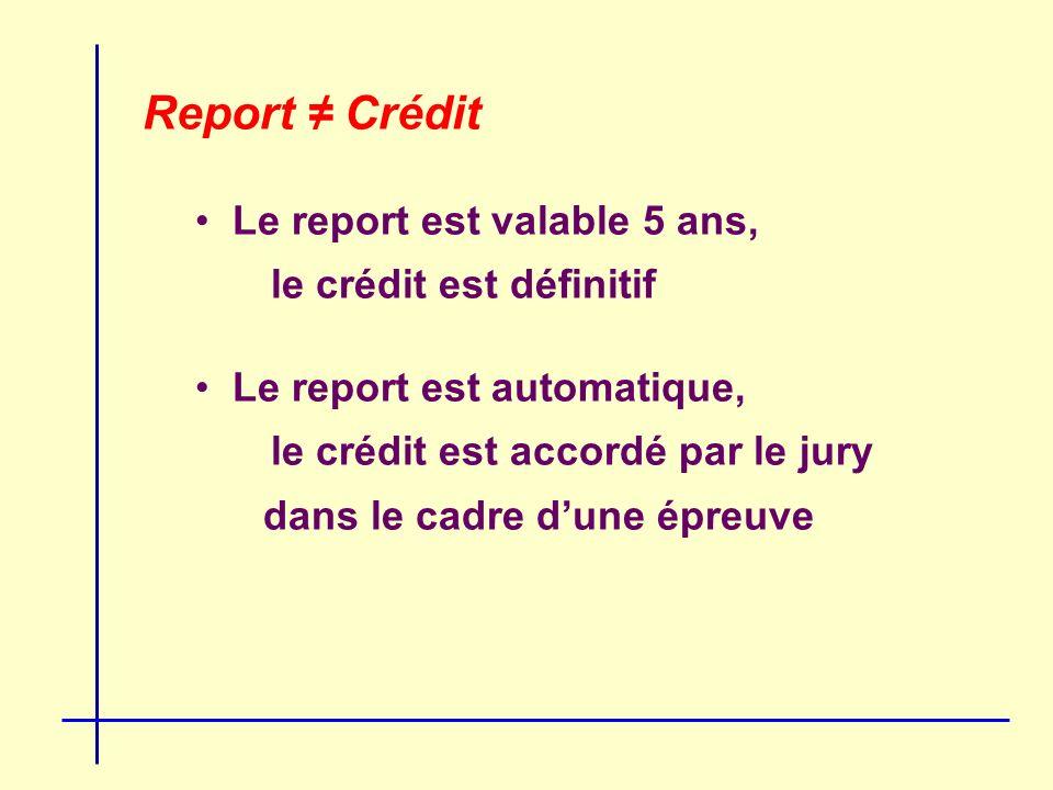 Report Crédit Le report est valable 5 ans, le crédit est définitif Le report est automatique, le crédit est accordé par le jury dans le cadre dune épreuve