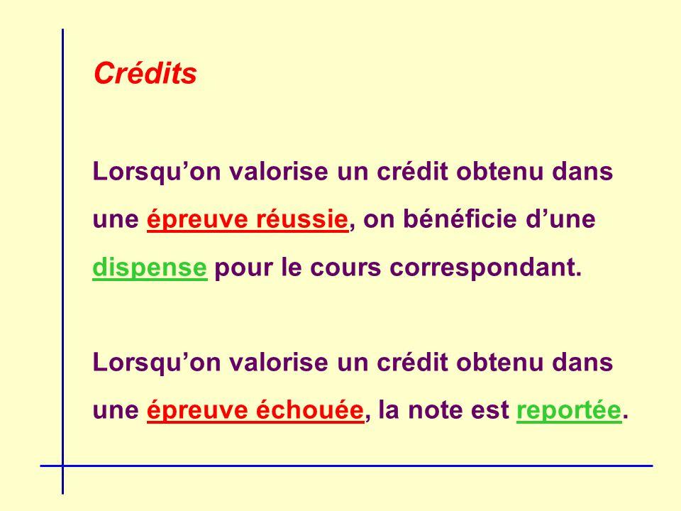 Crédits Lorsquon valorise un crédit obtenu dans une épreuve réussie, on bénéficie dune dispense pour le cours correspondant.