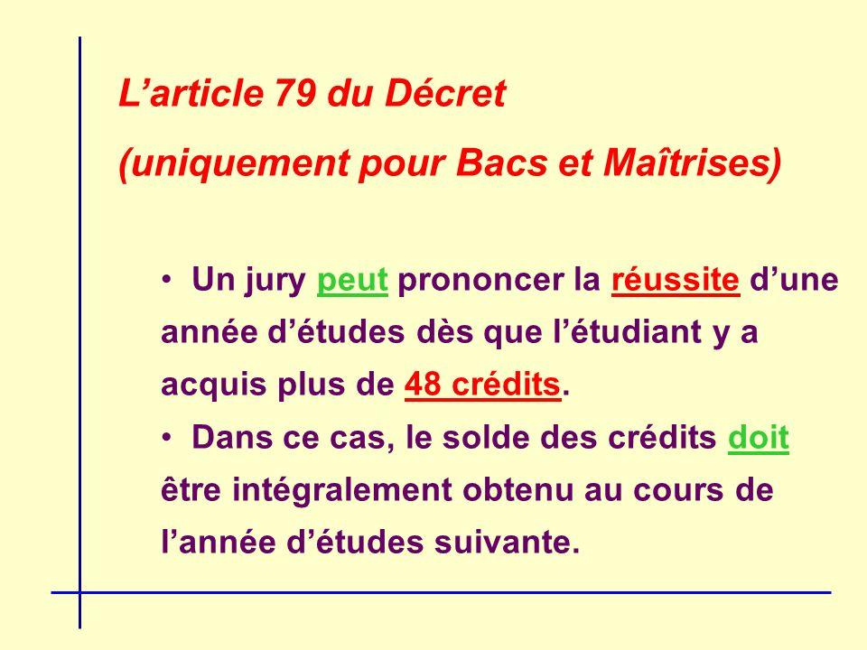 Larticle 79 du Décret (uniquement pour Bacs et Maîtrises) Un jury peut prononcer la réussite dune année détudes dès que létudiant y a acquis plus de 48 crédits.