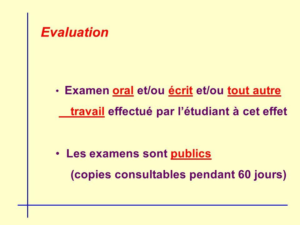 Evaluation Examen oral et/ou écrit et/ou tout autre travail effectué par létudiant à cet effet Les examens sont publics (copies consultables pendant 60 jours)
