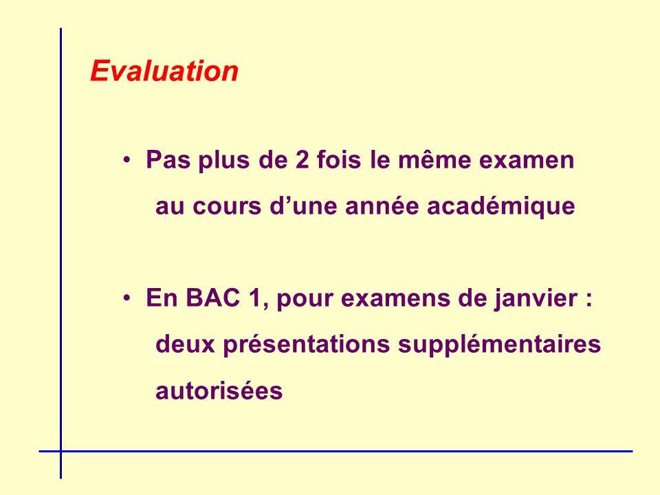 Evaluation Pas plus de 2 fois le même examen au cours dune année académique En BAC 1, pour examens de janvier : deux présentations supplémentaires autorisées