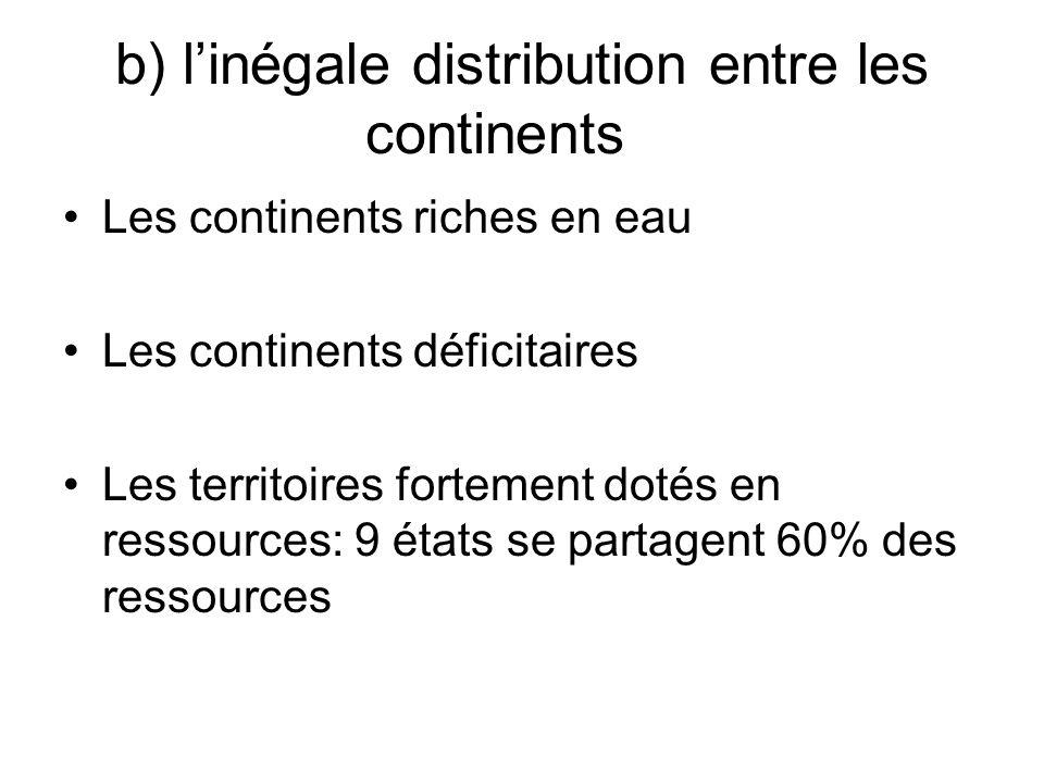 b) linégale distribution entre les continents Les continents riches en eau Les continents déficitaires Les territoires fortement dotés en ressources: