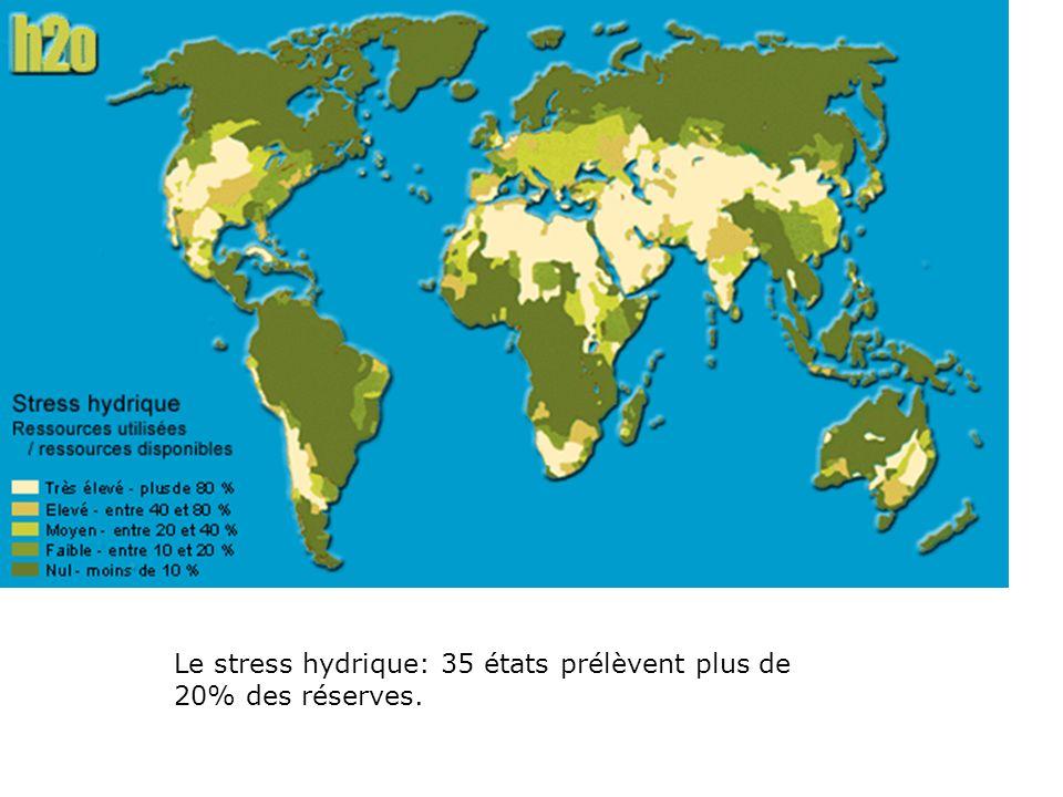 Le stress hydrique: 35 états prélèvent plus de 20% des réserves.
