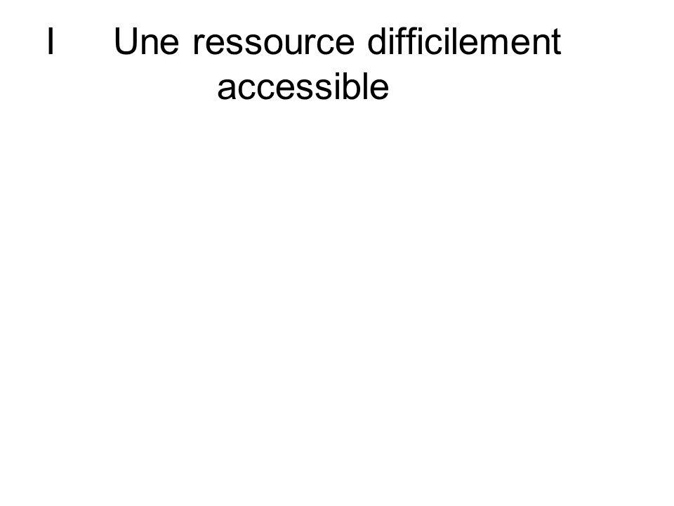 ALinégale répartition spatiale 1) Une ressource peu accessible.