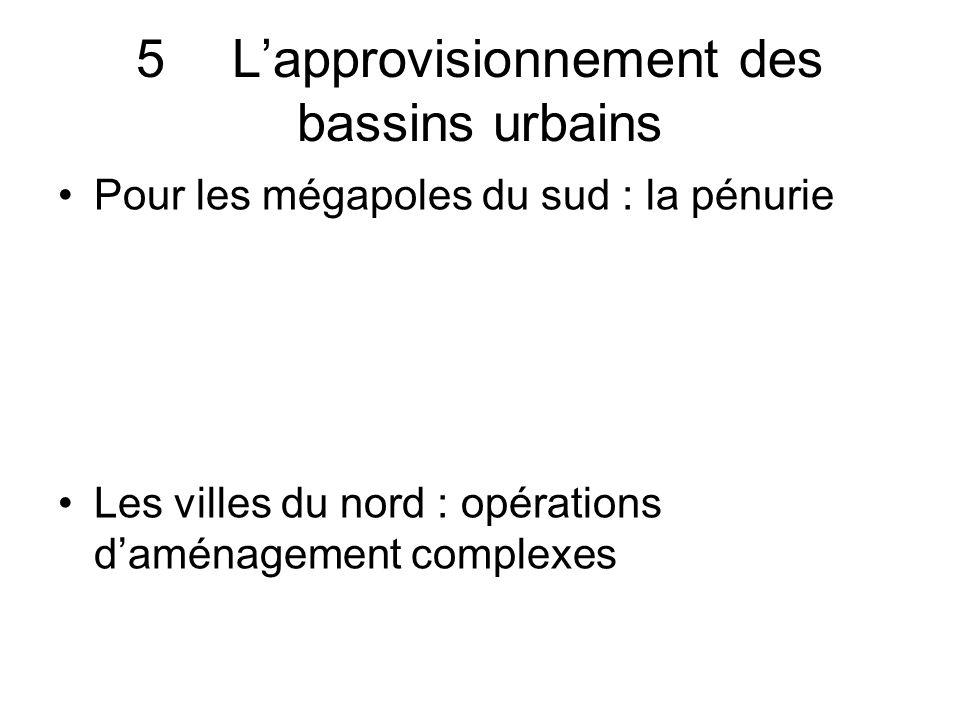 5Lapprovisionnement des bassins urbains Pour les mégapoles du sud : la pénurie Les villes du nord : opérations daménagement complexes