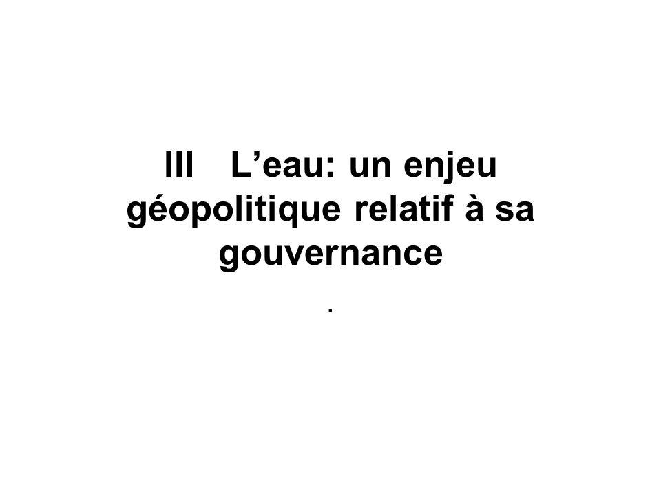 IIILeau: un enjeu géopolitique relatif à sa gouvernance.