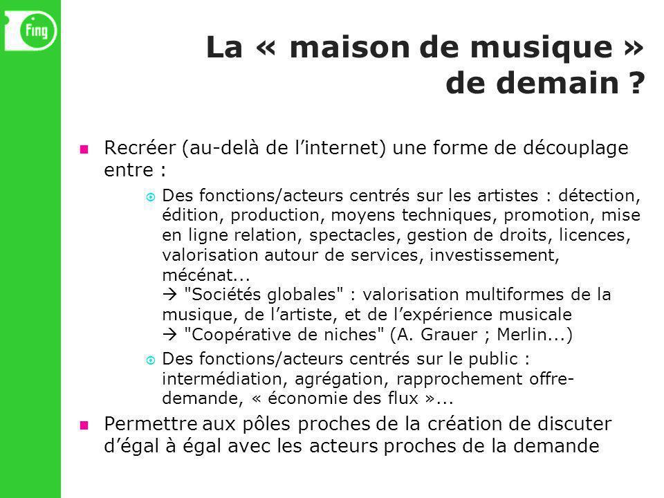La « maison de musique » de demain ? Recréer (au-delà de linternet) une forme de découplage entre : Des fonctions/acteurs centrés sur les artistes : d