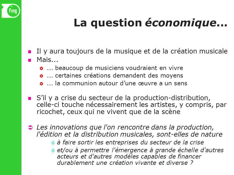 La question économique... Il y aura toujours de la musique et de la création musicale Mais...... beaucoup de musiciens voudraient en vivre... certaine