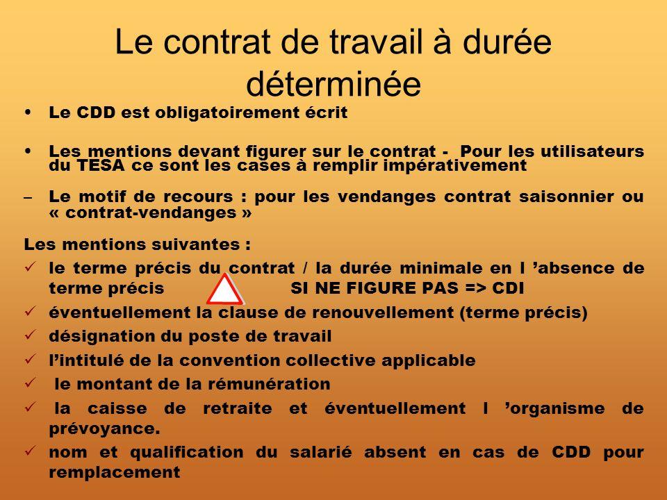 Le contrat de travail à durée déterminée Le CDD est obligatoirement écrit Les mentions devant figurer sur le contrat - Pour les utilisateurs du TESA c