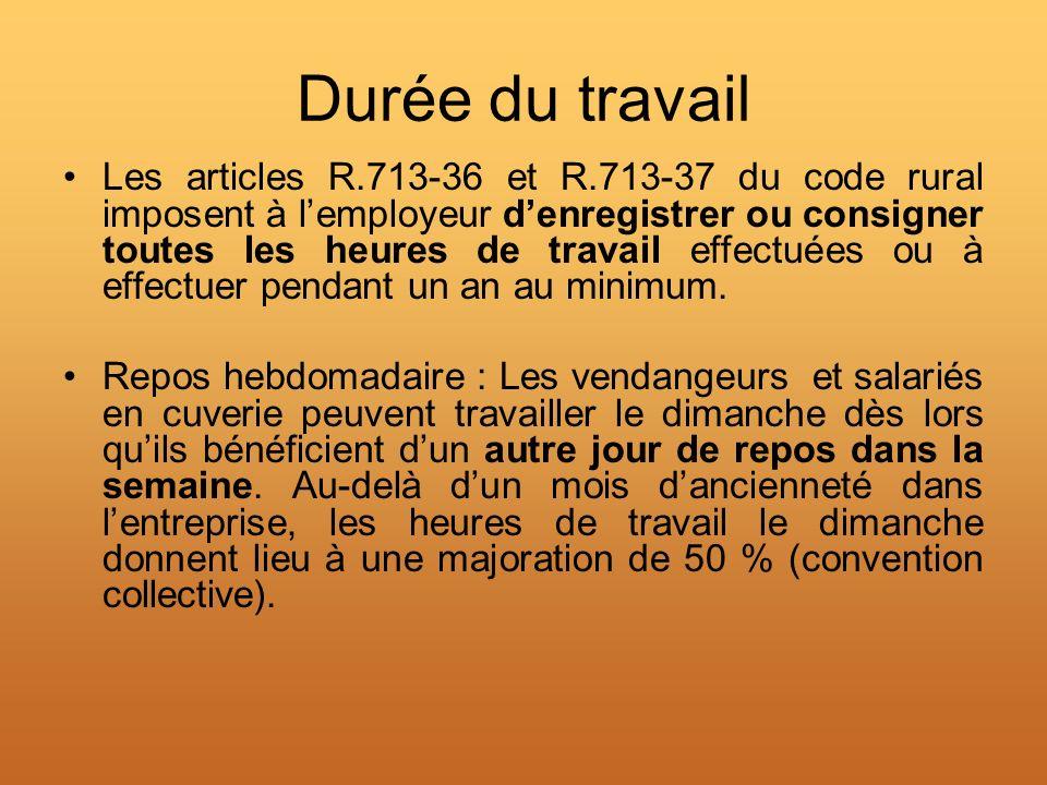 Durée du travail Les articles R.713-36 et R.713-37 du code rural imposent à lemployeur denregistrer ou consigner toutes les heures de travail effectué