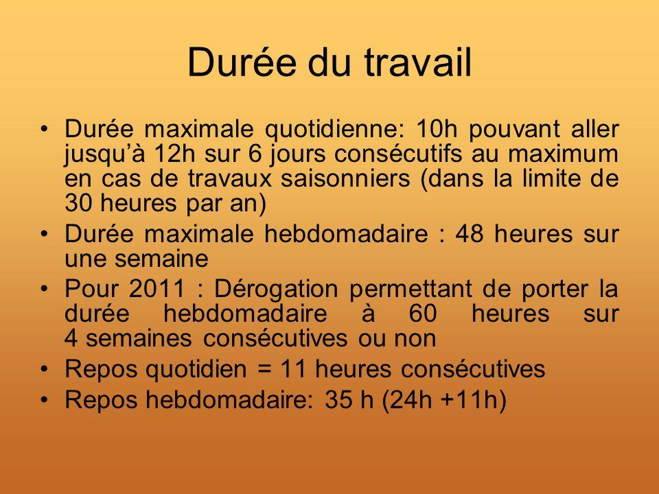 Durée du travail Durée maximale quotidienne: 10h pouvant aller jusquà 12h sur 6 jours consécutifs au maximum en cas de travaux saisonniers (dans la li