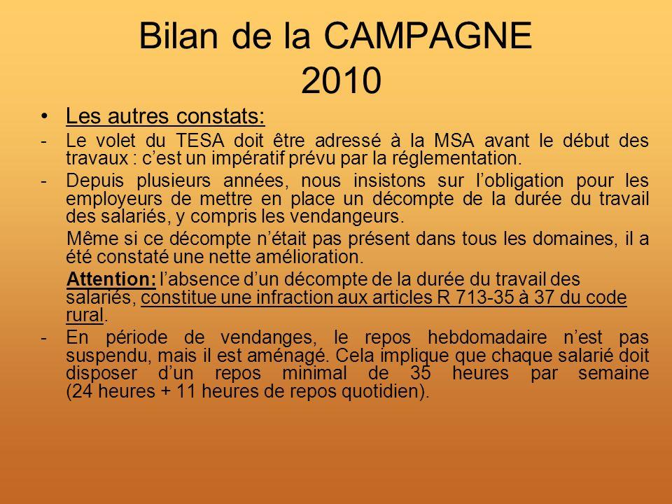 Bilan de la CAMPAGNE 2010 Les autres constats: -Le volet du TESA doit être adressé à la MSA avant le début des travaux : cest un impératif prévu par l