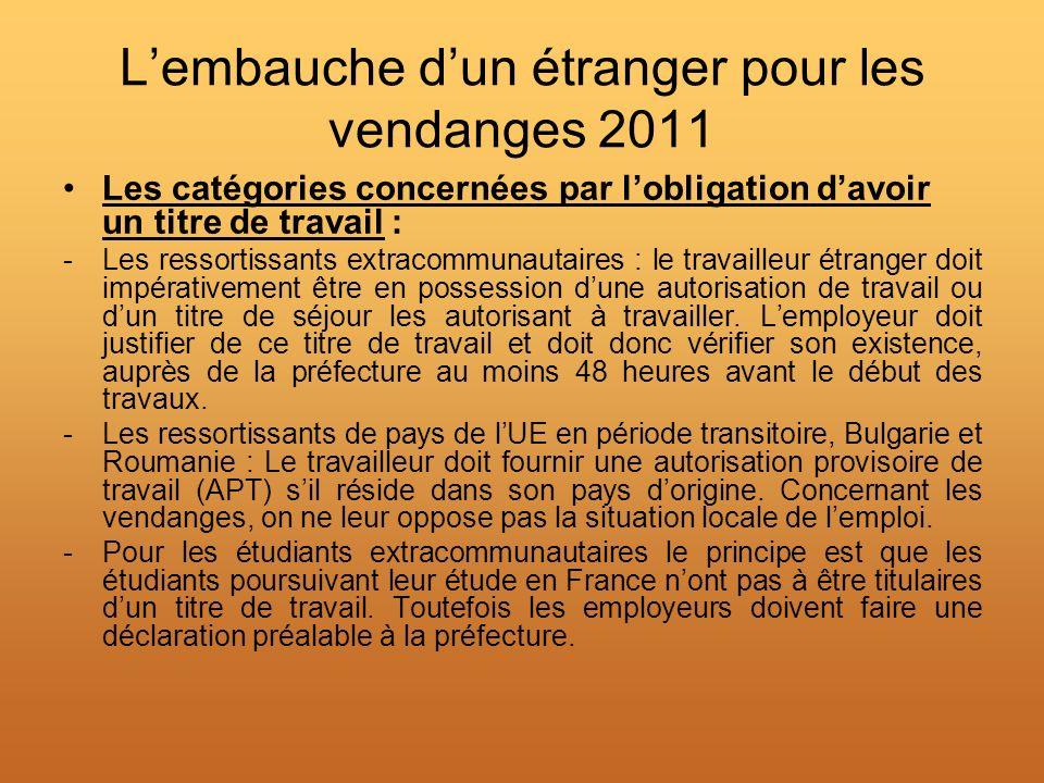 Lembauche dun étranger pour les vendanges 2011 Les catégories concernées par lobligation davoir un titre de travail : -Les ressortissants extracommuna