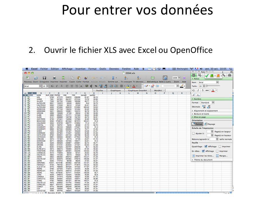 Pour entrer vos données 2.Ouvrir le fichier XLS avec Excel ou OpenOffice