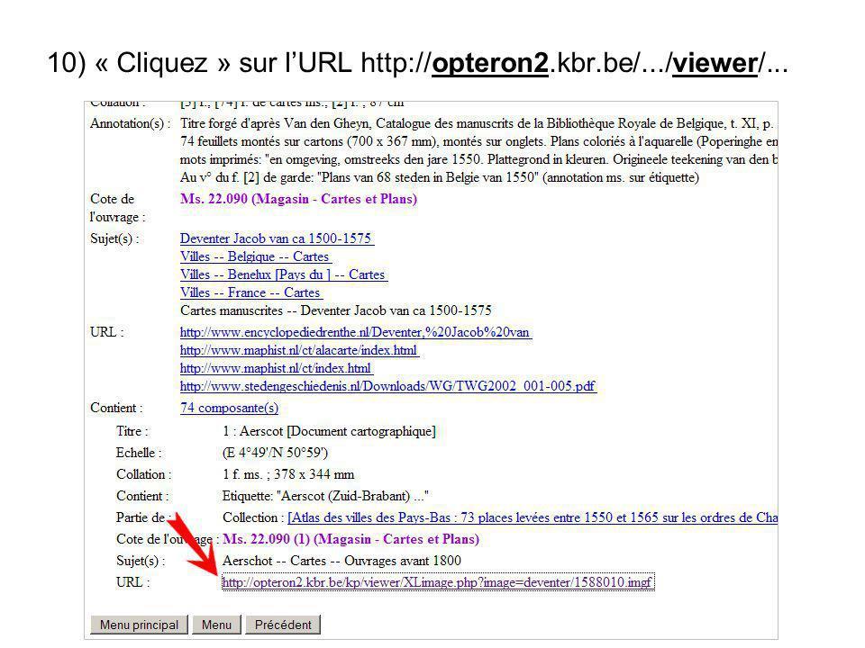 10) « Cliquez » sur lURL http://opteron2.kbr.be/.../viewer/...