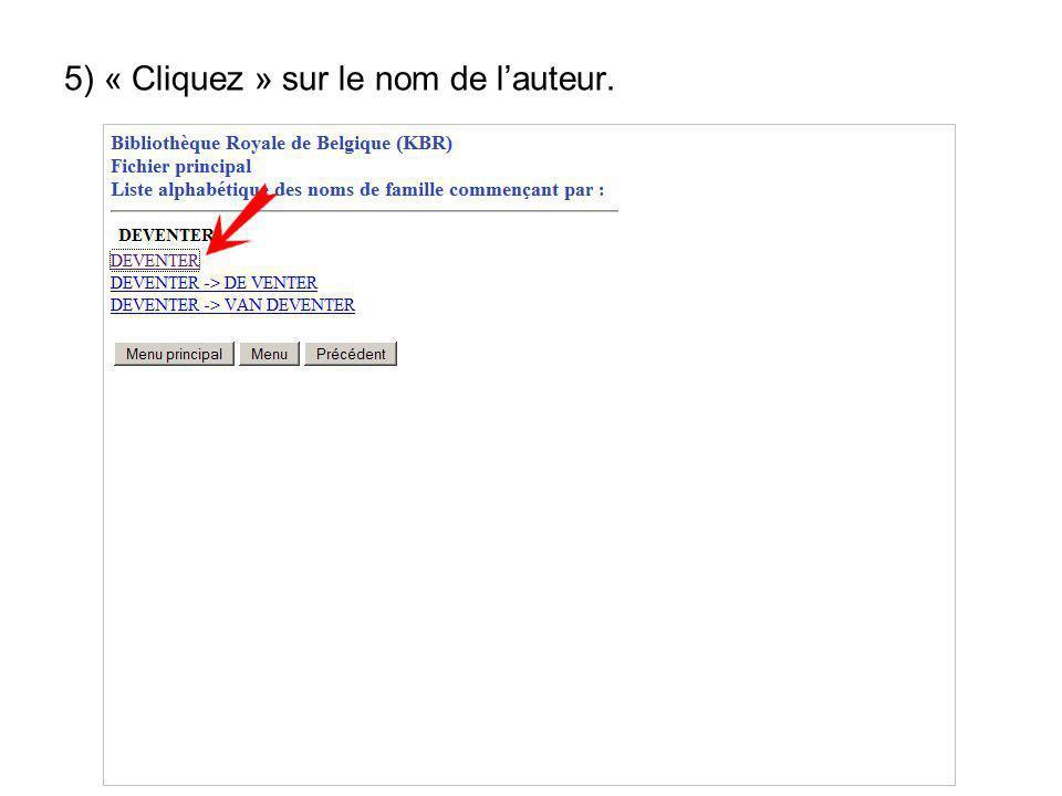 5) « Cliquez » sur le nom de lauteur.