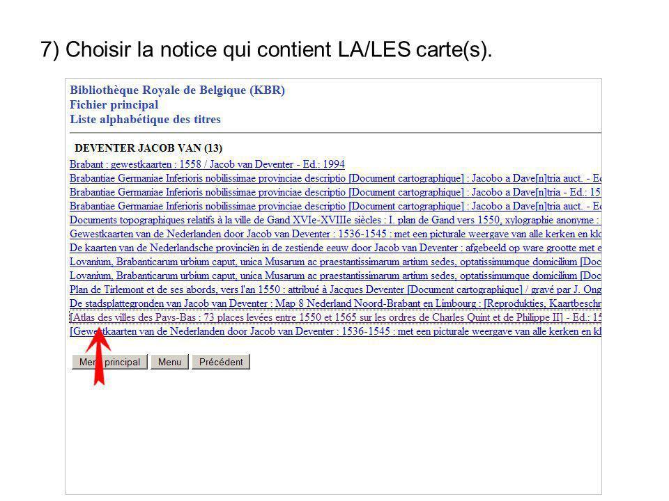 7) Choisir la notice qui contient LA/LES carte(s).