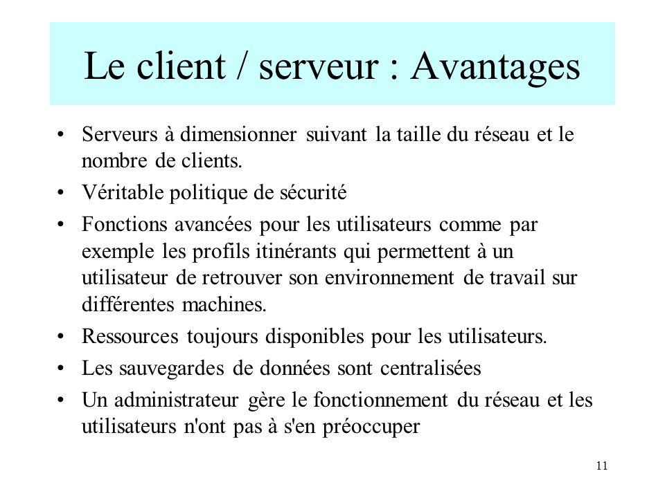 11 Le client / serveur : Avantages Serveurs à dimensionner suivant la taille du réseau et le nombre de clients. Véritable politique de sécurité Foncti