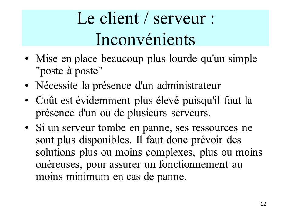 12 Le client / serveur : Inconvénients Mise en place beaucoup plus lourde qu'un simple