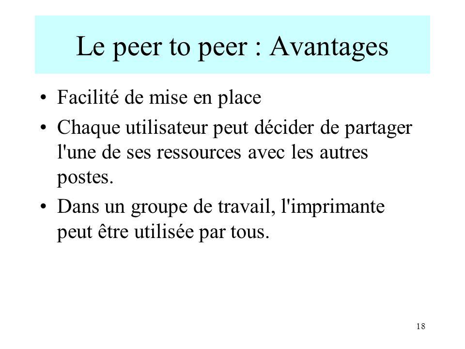 18 Le peer to peer : Avantages Facilité de mise en place Chaque utilisateur peut décider de partager l'une de ses ressources avec les autres postes. D
