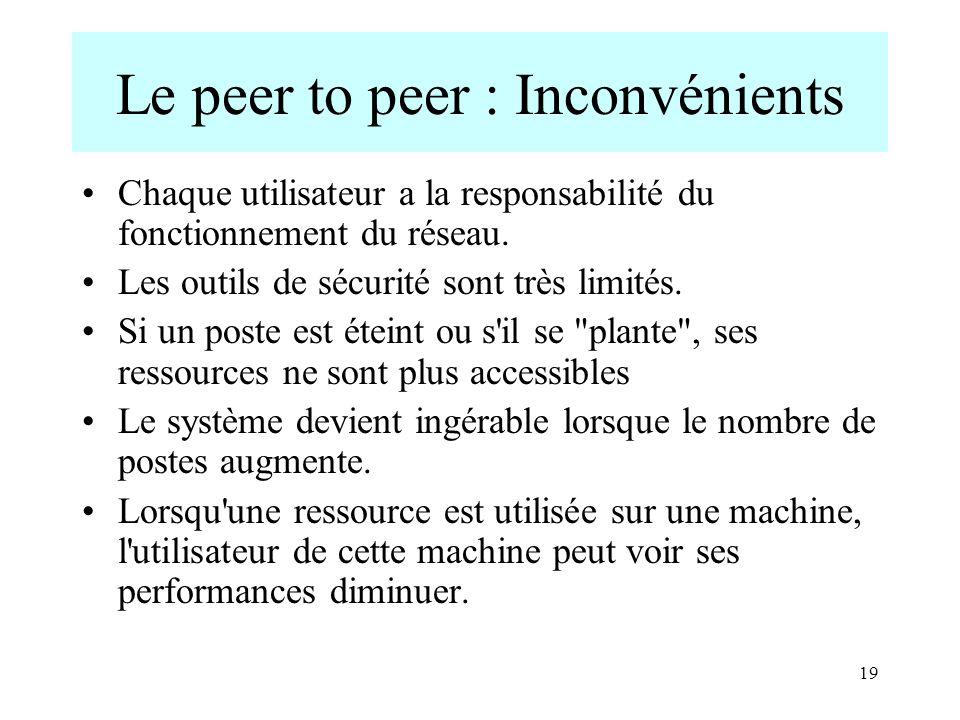 19 Le peer to peer : Inconvénients Chaque utilisateur a la responsabilité du fonctionnement du réseau. Les outils de sécurité sont très limités. Si un