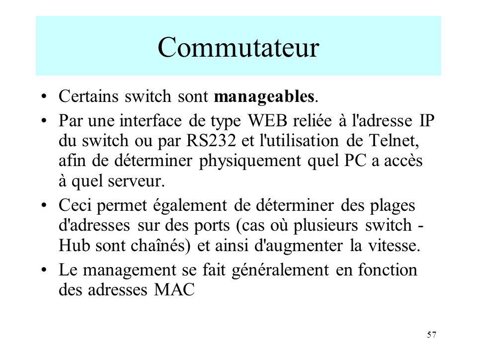 57 Commutateur Certains switch sont manageables. Par une interface de type WEB reliée à l'adresse IP du switch ou par RS232 et l'utilisation de Telnet