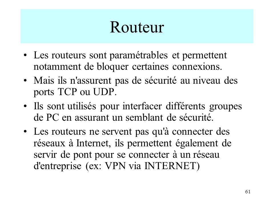 61 Routeur Les routeurs sont paramétrables et permettent notamment de bloquer certaines connexions. Mais ils n'assurent pas de sécurité au niveau des
