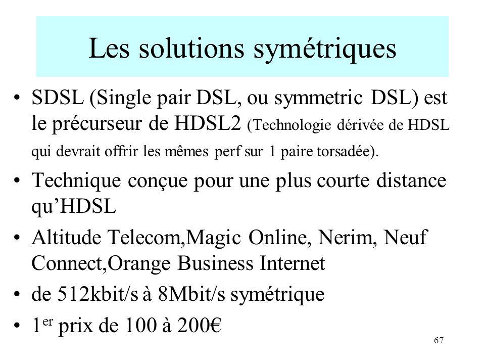 67 Les solutions symétriques SDSL (Single pair DSL, ou symmetric DSL) est le précurseur de HDSL2 (Technologie dérivée de HDSL qui devrait offrir les m