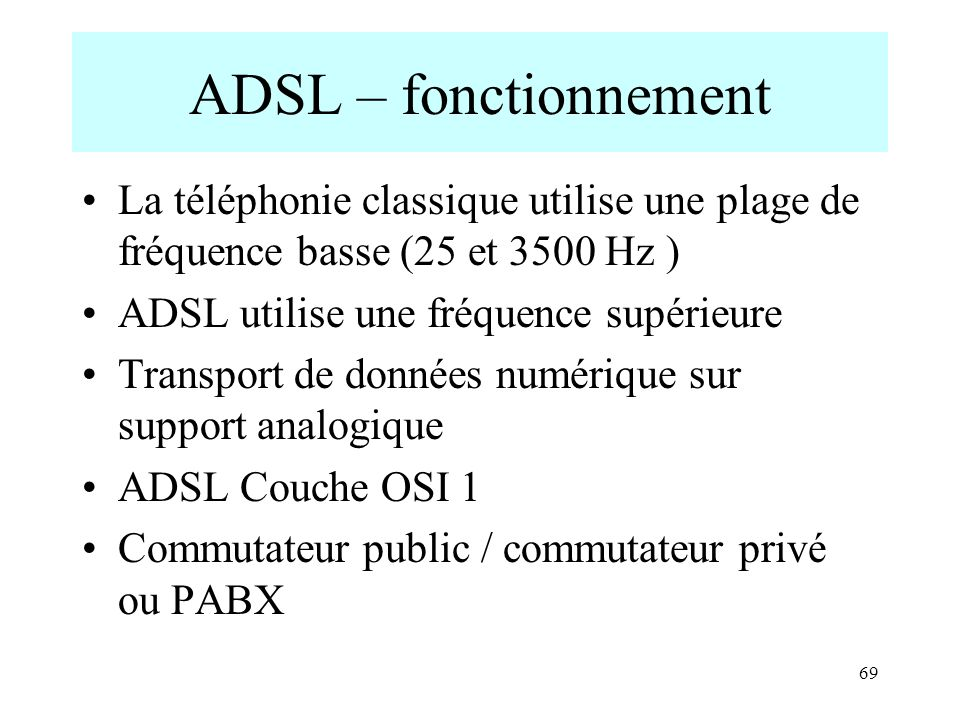 ADSL – fonctionnement La téléphonie classique utilise une plage de fréquence basse (25 et 3500 Hz ) ADSL utilise une fréquence supérieure Transport de