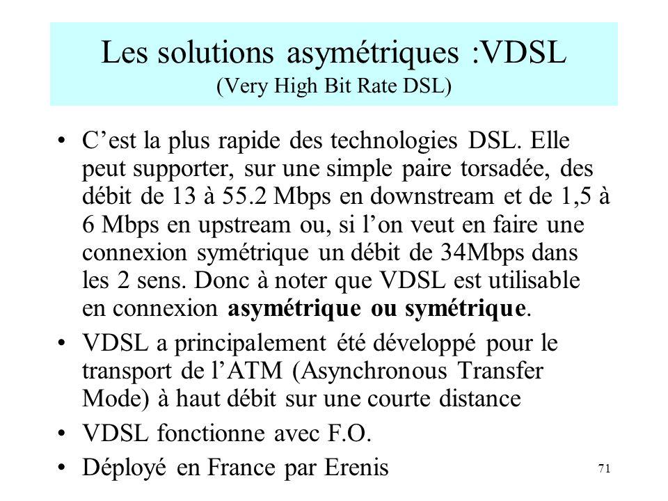 71 Les solutions asymétriques :VDSL (Very High Bit Rate DSL) Cest la plus rapide des technologies DSL. Elle peut supporter, sur une simple paire torsa