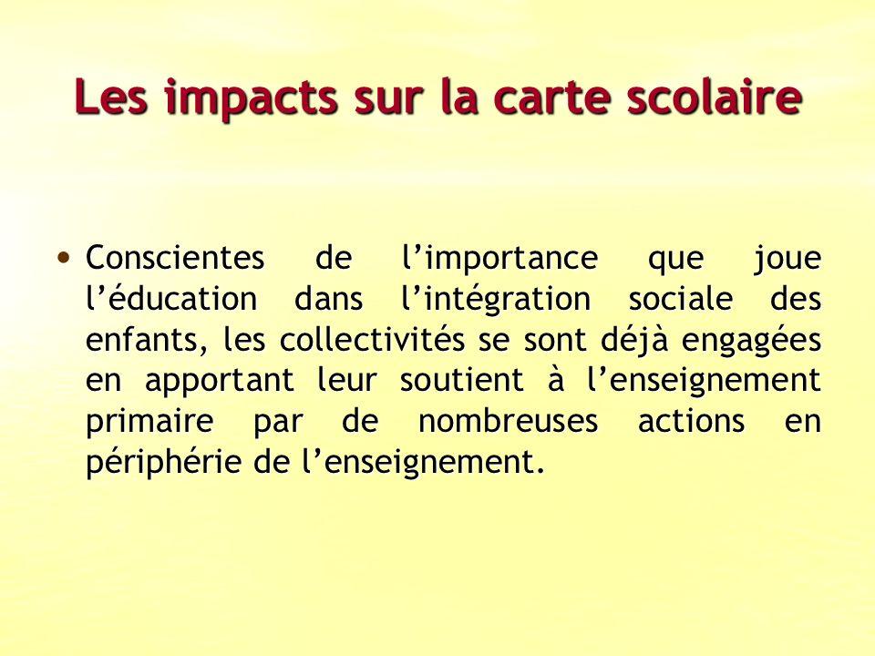 Les impacts sur la carte scolaire Conscientes de limportance que joue léducation dans lintégration sociale des enfants, les collectivités se sont déjà engagées en apportant leur soutient à lenseignement primaire par de nombreuses actions en périphérie de lenseignement.