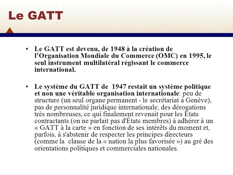 Le GATT et les Cycles de négociations commerciales multilatérales de 1947 à 1961 Un des objectifs fondamentaux du GATT est de réduire progressivement les tarifs via des négociations multilatérales 1947: 1er Cycle: Genève (23 pays): réduction des tarifs 1949: 2ème Cycle: Annecy (13 pays): réduction des tarifs 1951: 3ème Cycle: Torquay (38 pays): réduction des tarifs 1956: 4ème Cycle: Genève (26 pays): réduction des tarifs.