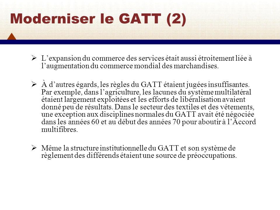 La préparation du Cycle de lUruguay Lidée du Cycle dUruguay est née en novembre 1982 lors dune réunion ministérielle des membres du GATT à Genève.