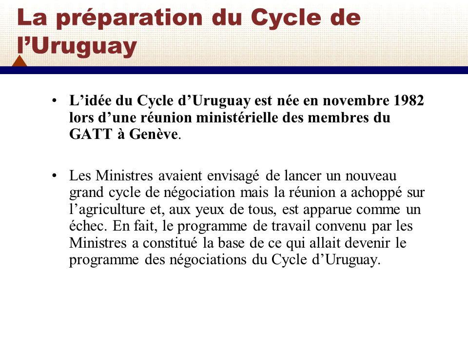 La préparation du Cycle de lUruguay (2) Il a fallu quatre années defforts, pendant lesquelles on sest attaché à dégager peu à peu un consensus, avant que les Ministres décident de lancer le nouveau cycle de négociations.