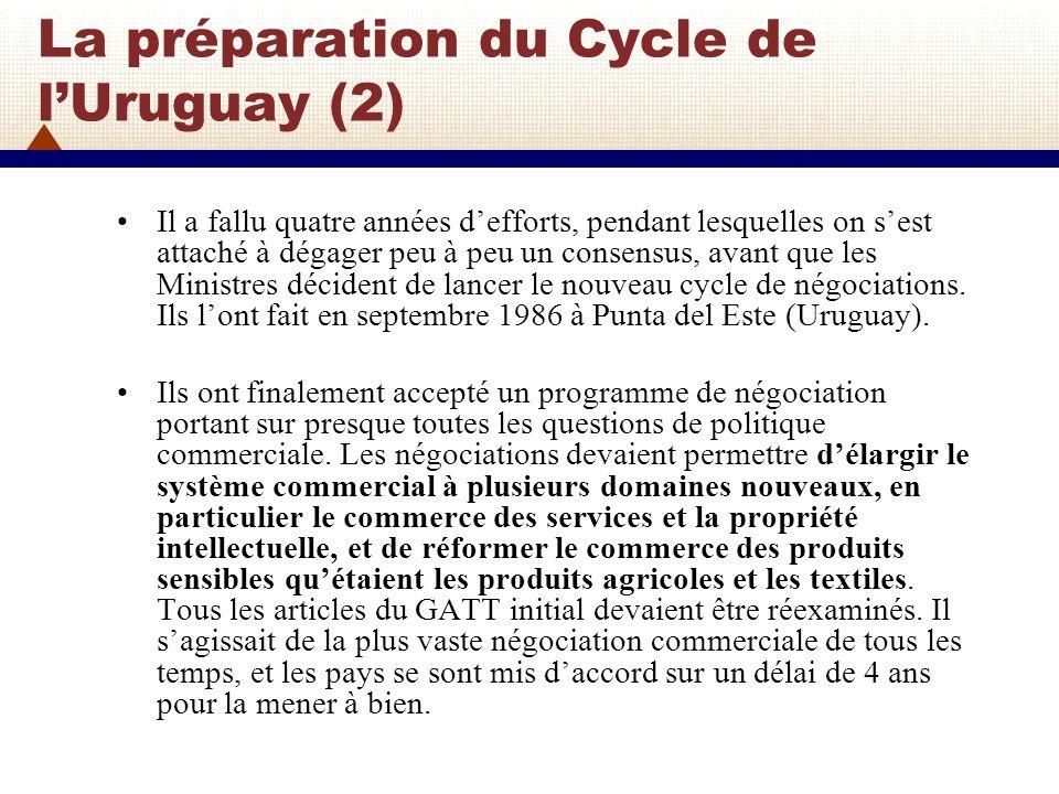 Le Cycle de lUruguay: de 1986 à 1994 Le Cycle de lUruguay a duré sept ans et demi, presque deux fois plus que ce qui avait été prévu.