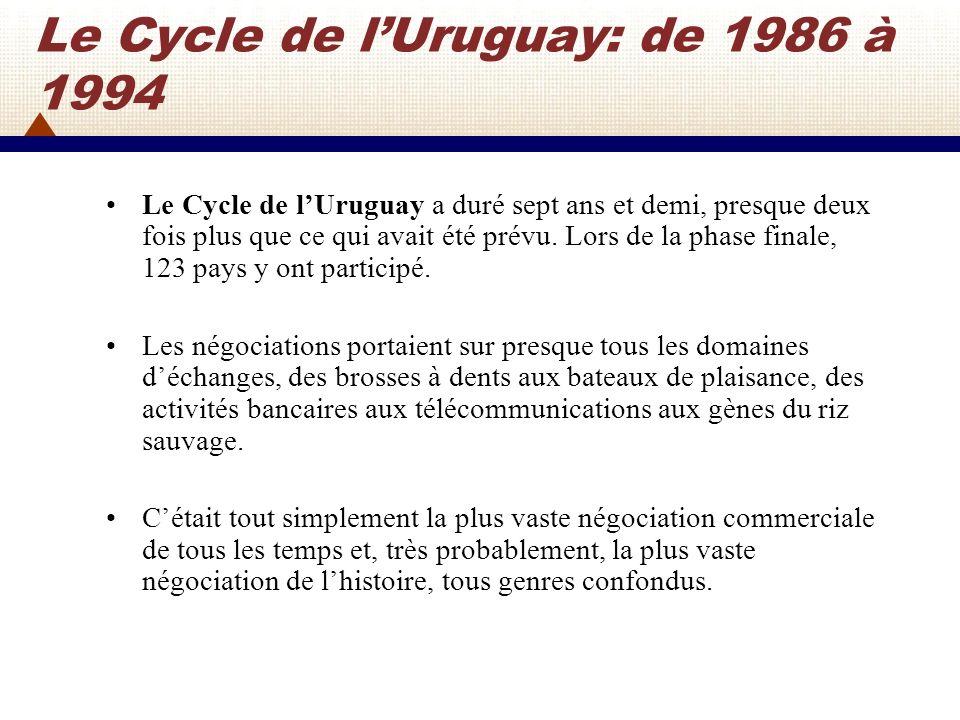 Le Cycle de lUruguay: la réunion de Montréal en 1988 Deux ans après le lancement des négociations, en décembre 1988, les Ministres se sont de nouveau réunis à Montréal (Canada) pour ce qui devait être une évaluation des progrès accomplis à mi-parcours des négociations.