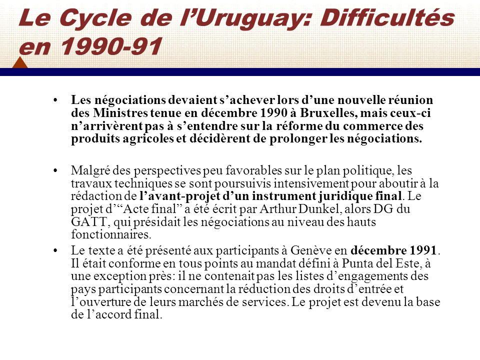 Le Cycle de lUruguay En novembre 1992, les États-Unis et la CEE surmontèrent la plupart de leurs divergences concernant lagriculture en concluant ce qui était officieusement dénommé lAccord de Blair House.
