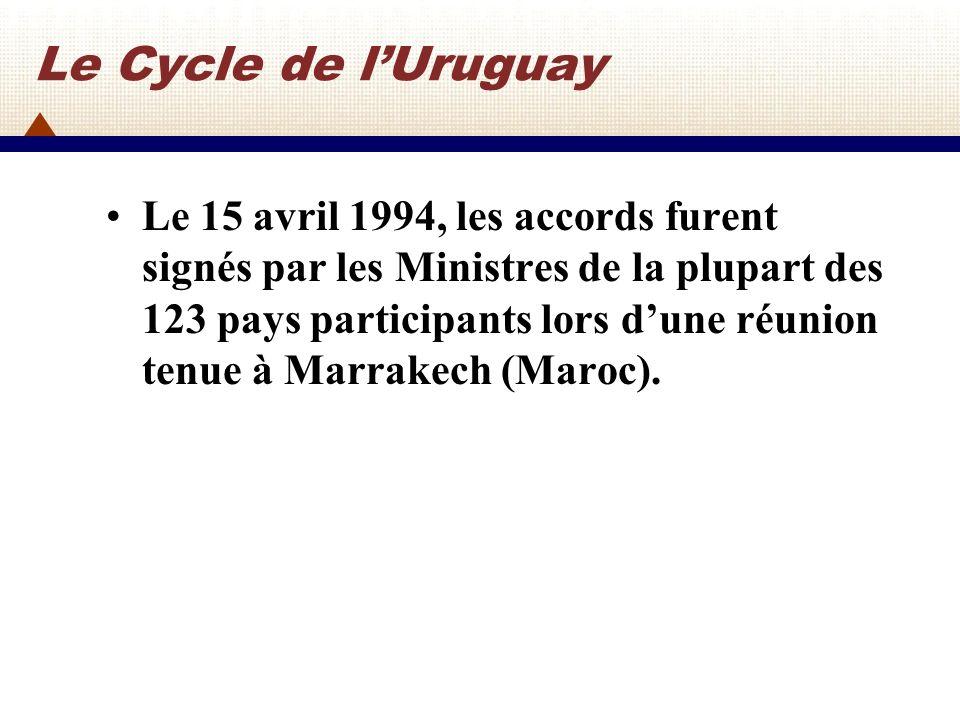 Résultats des négociations commerciales multilatérales du Cycle dUruguay Les Accords du Cycle dUruguay comprenne une liste impressionnante de quelque 60 accords, annexes, décisions et mémorandums daccord.