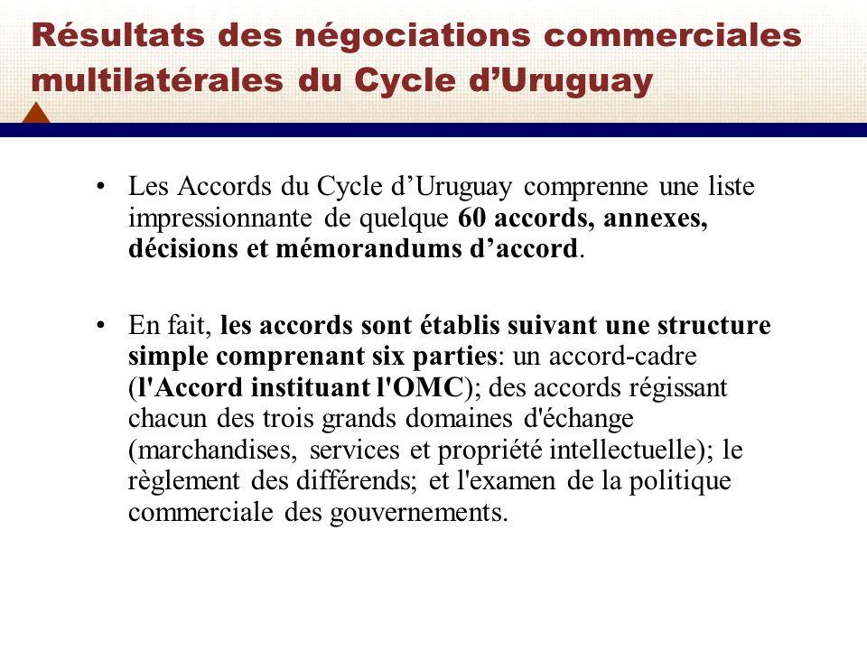 Résultats des négociations commerciales multilatérales du Cycle dUruguay Les accords régissant les deux principaux domaines marchandises et services sont établis suivant le même schéma, malgré des différences parfois notables sur les points de détail.