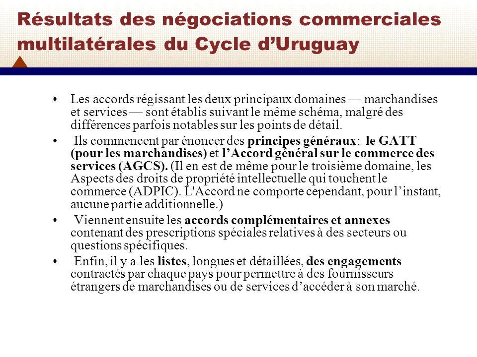 Dautres négociations après le Cycle dUruguay Après le Cycle de lUruguay, les négociations nen sont pas restées là.