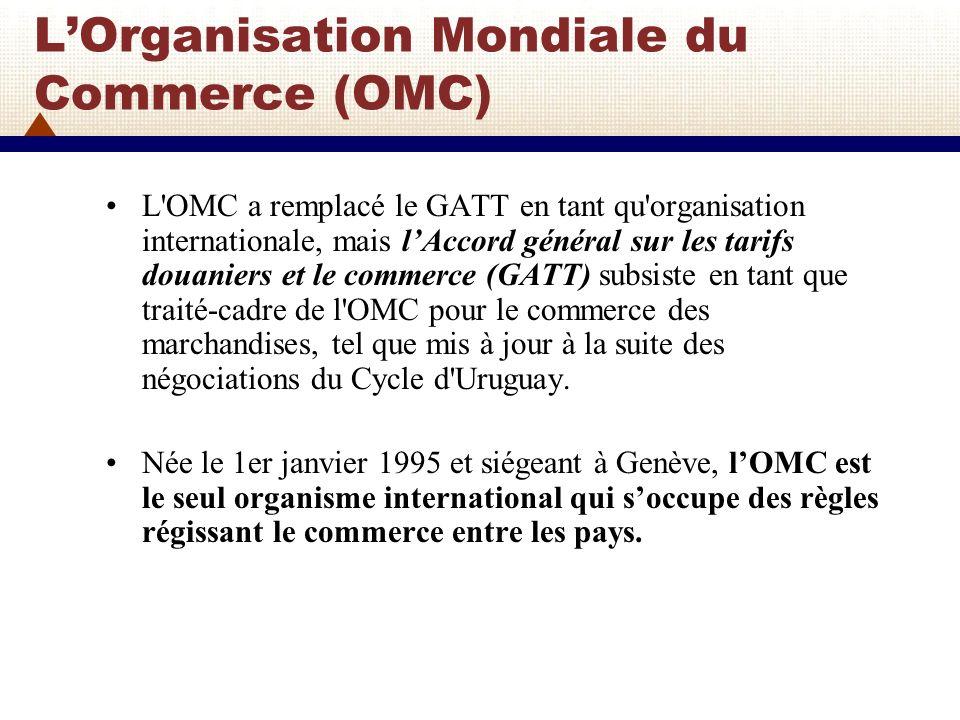 LOrganisation Mondiale du Commerce (OMC) Les accords de lOMC occupent une place centrale et constituent les règles juridiques de base pour le commerce international et la politique commerciale.