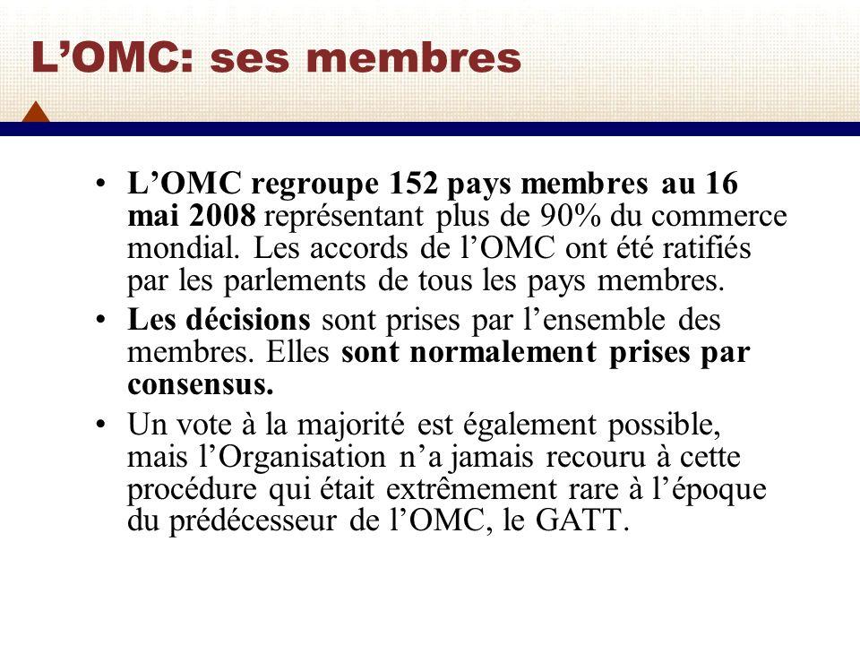 La structure de lOMC Lorgane suprême de décision de lOMC est la Conférence ministérielle qui se réunit au moins une fois tous les deux ans.