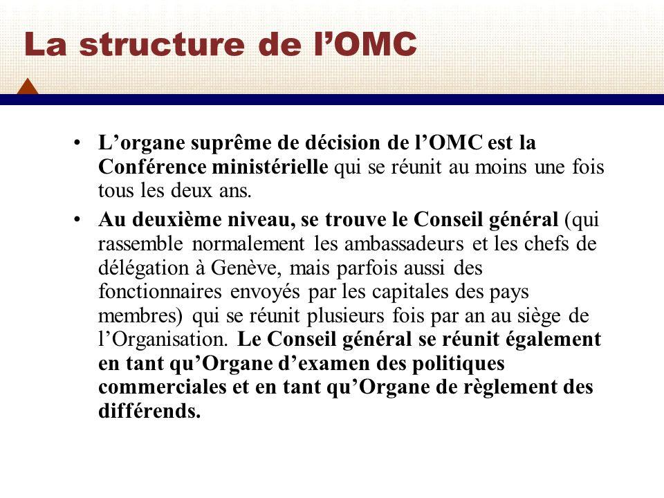 La structure de lOMC (2) Au troisième niveau, se trouvent le Conseil du commerce des marchandises, le Conseil du commerce des services et le Conseil des Aspects des Droits de la Propriété qui touchent au commerce (Conseil des ADPIC) qui présentent des rapports au Conseil général.