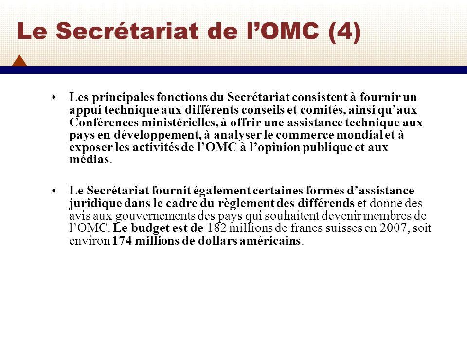Le Secrétariat de lOMC (5) Les contributions des membres au budget de lOMC, sont fixées en fonction du poids de chaque membre dans le commerce international des marchandises, des services et des droits de propriété intellectuelle pour les trois dernières années.