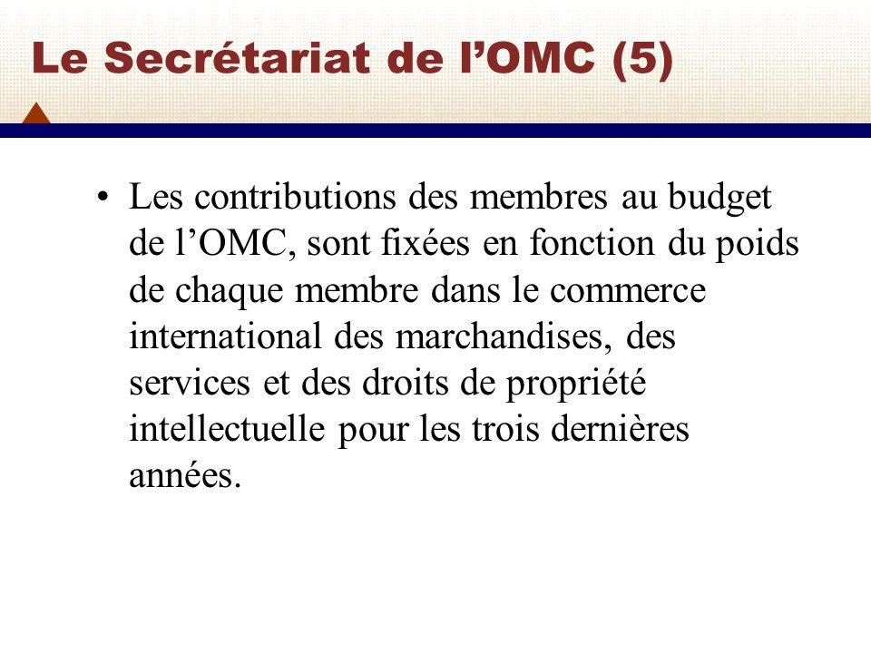 Le Secrétariat de lOMC (5) Les contributions des membres au budget de lOMC, sont fixées en fonction du poids de chaque membre dans le commerce interna