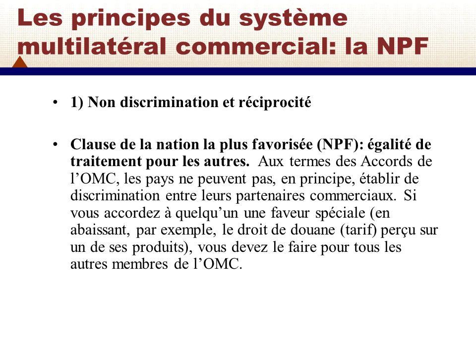 Les principes du système multilatéral commercial: la NPF NPF: Ce principe est dénommé traitement de la nation la plus favorisée (NPF).